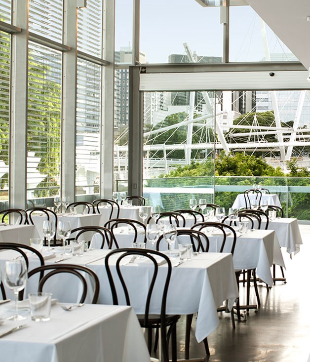 "[**GOMA Restaurant**](https://www.gourmettraveller.com.au/dining-out/restaurant-reviews/goma-restaurant-6818|target=""_blank"") Who knows why this light-filled gallery adjunct only opens for lunches, but if limited hours spark the kind of culinary creativity that's on offer, we'll happily forgo dinner."