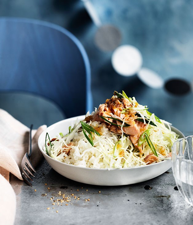 Japanese-style rice, cabbage and smoked trout salad