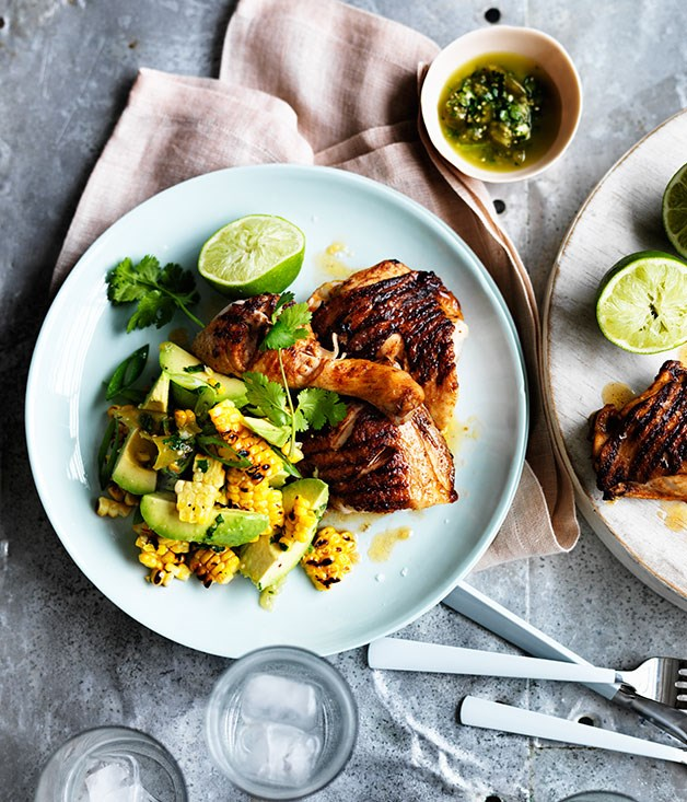 Barbecued spiced chicken with corn, avocado and lime