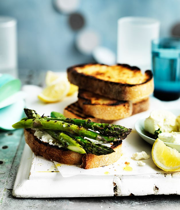 Asparagus and marinated feta crostini