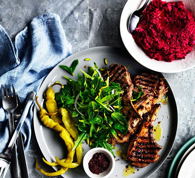 Sumac lamb cutlets with beetroot hummus