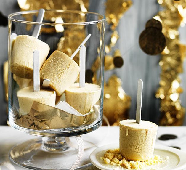 Eggnog ice-pops with milk crumb