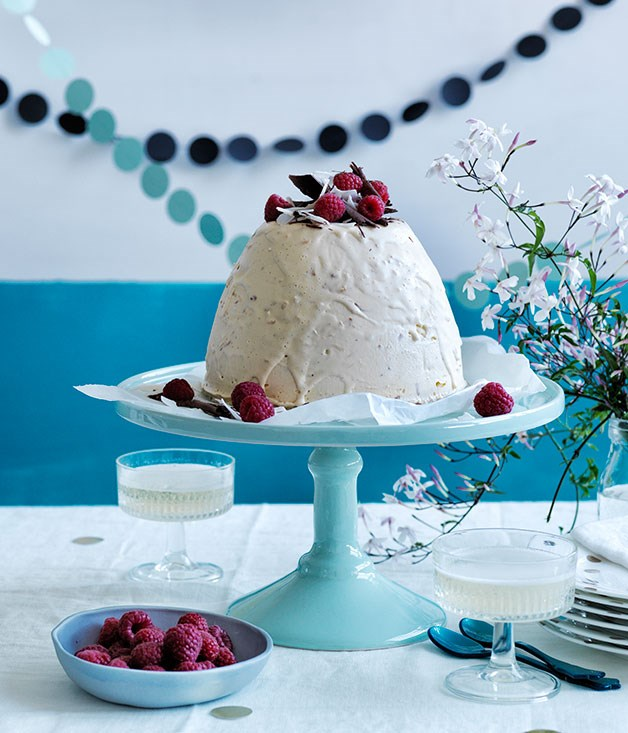 Coconut, chocolate and raspberry ice-cream bombe