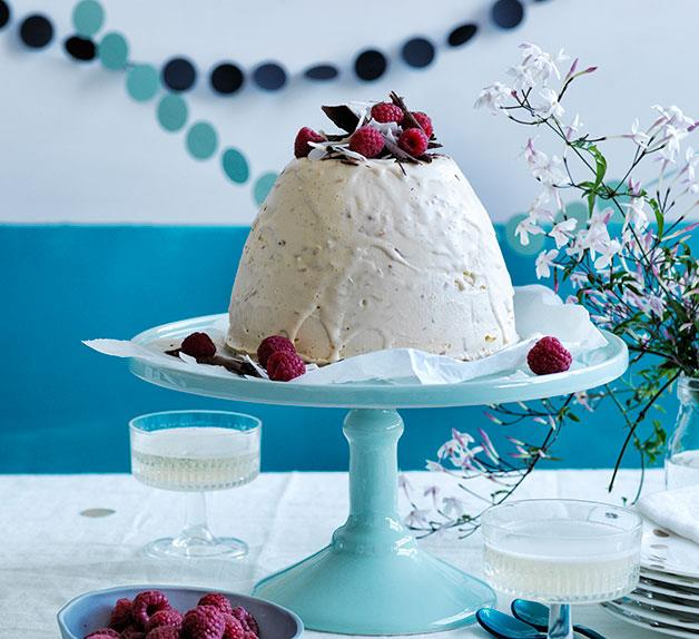 Coconut, chocolate and raspberry ice-cream bombe