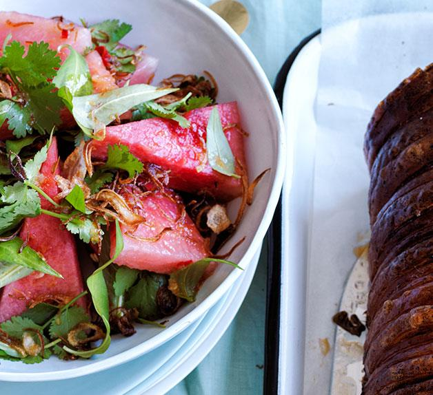 Watermelon salad with fried shallots