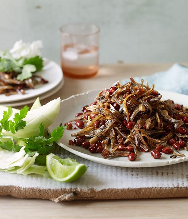 """[Ikan bilis sambal with cucumber and peanuts](https://www.gourmettraveller.com.au/recipes/browse-all/ikan-bilis-sambal-with-cucumber-and-peanuts-11910 target=""""_blank"""")"""