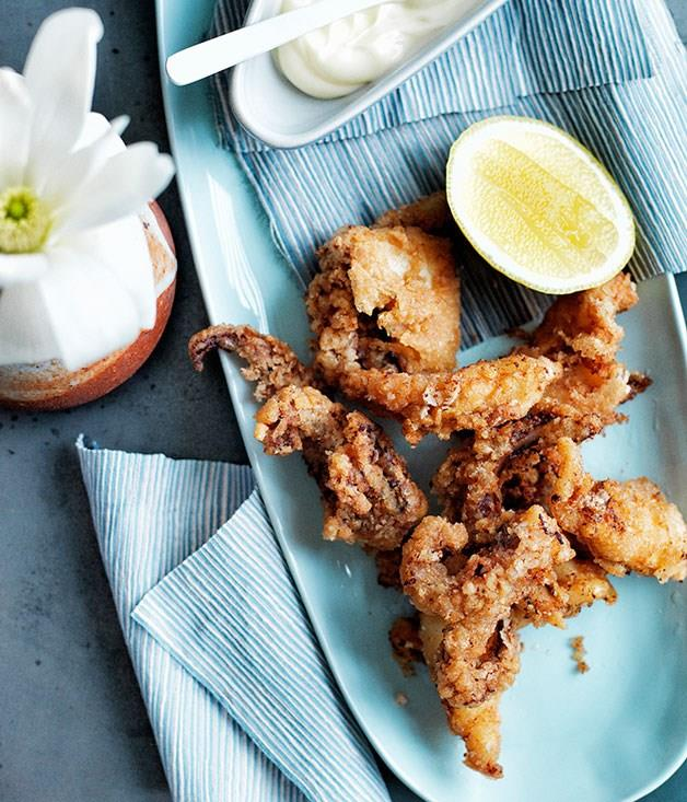 """[Squid kara age with Japanese mayonnaise](https://www.gourmettraveller.com.au/recipes/browse-all/squid-kara-age-with-japanese-mayonnaise-11770 target=""""_blank"""")"""