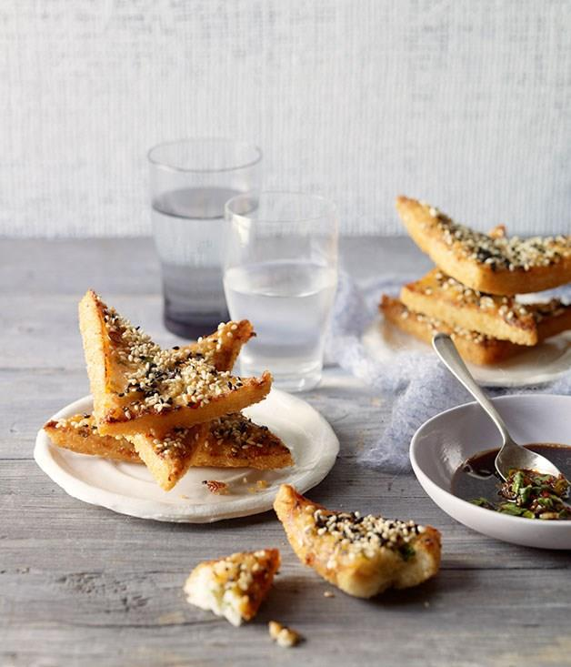 """[Prawn toasts with black vinegar and chilli dipping sauce](https://www.gourmettraveller.com.au/recipes/browse-all/prawn-toasts-with-black-vinegar-and-chilli-dipping-sauce-11729 target=""""_blank"""")"""