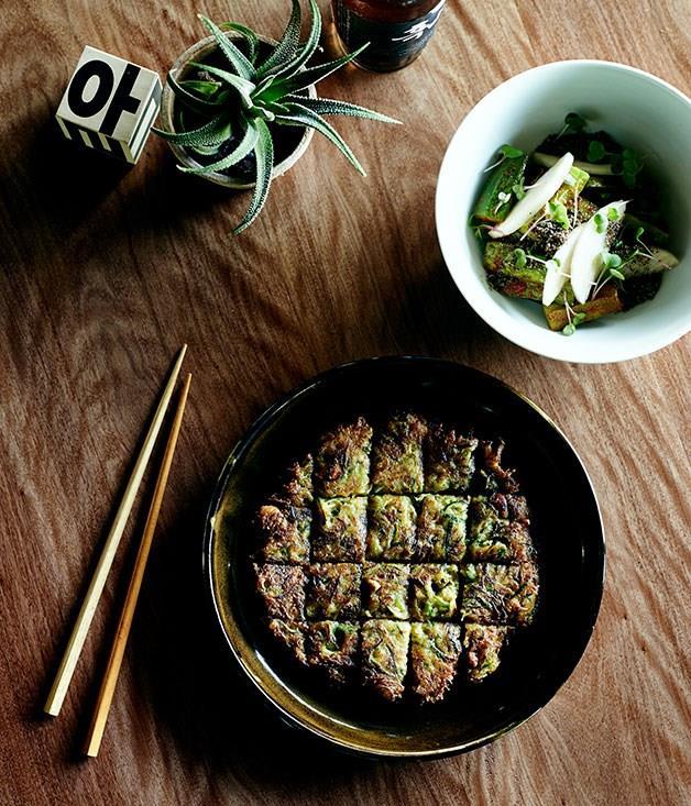 "[Zucchini pancake](https://www.gourmettraveller.com.au/recipes/chefs-recipes/zucchini-pancake-hobak-jeon-8080 target=""_blank"")"