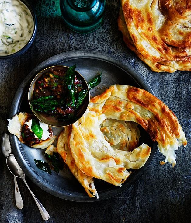 """[Hot and sour ginger chutney with cucumber yoghurt and roti](https://www.gourmettraveller.com.au/recipes/browse-all/hot-and-sour-ginger-chutney-with-cucumber-yoghurt-and-roti-11953 target=""""_blank"""")"""