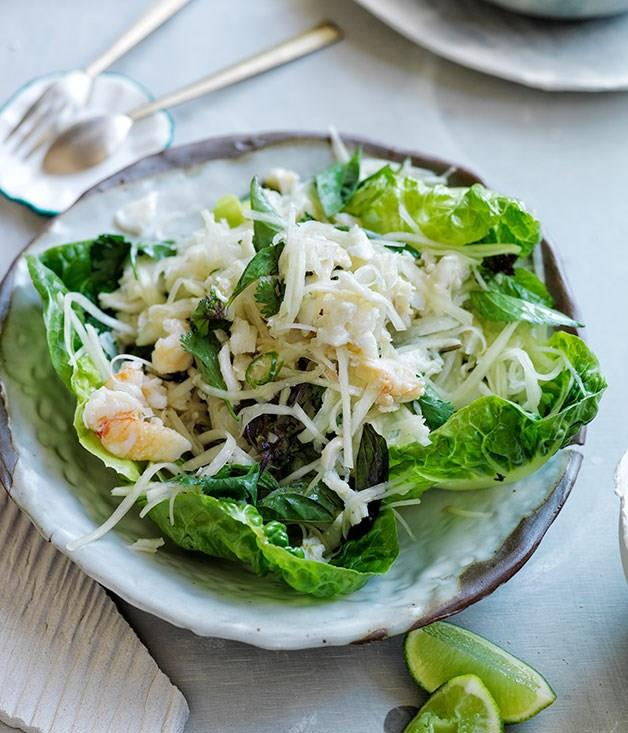 """[Spicy crab and green papaya salad on lettuce leaves](https://www.gourmettraveller.com.au/recipes/browse-all/spicy-crab-and-green-papaya-salad-on-lettuce-leaves-11896 target=""""_blank"""")"""