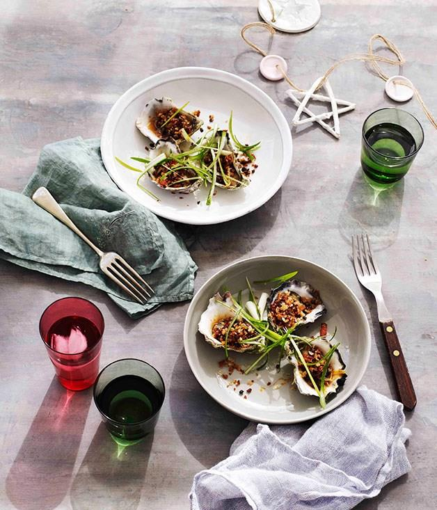"""[Lightly-steamed XO oysters with bacon crumbs](https://www.gourmettraveller.com.au/recipes/browse-all/lightly-steamed-xo-oysters-with-bacon-crumbs-11174 target=""""_blank"""")"""