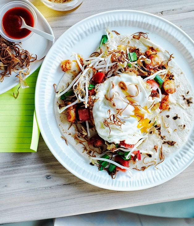 """[Prawn and egg roti](https://www.gourmettraveller.com.au/recipes/browse-all/prawn-and-egg-roti-12056 target=""""_blank"""")"""