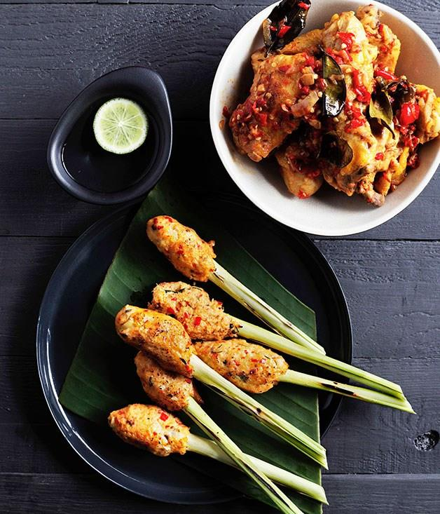 "[Balinese seafood satay](https://www.gourmettraveller.com.au/recipes/chefs-recipes/balinese-seafood-satay-sate-lilit-7713 target=""_blank"")"