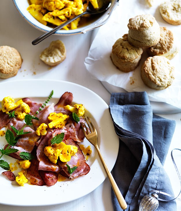 Ham with cauliflower piccalilli and buttermilk biscuits