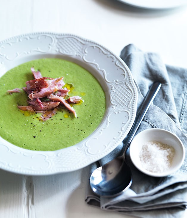 Ham hock and fresh pea soup