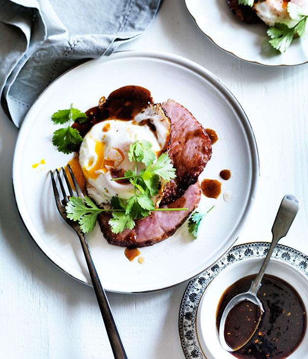 "**[Ham steaks with fried egg and chilli tamarind sauce](https://www.gourmettraveller.com.au/recipes/browse-all/ham-and-vintage-cheddar-sandwiches-with-peach-relish-11817|target=""_blank"")**"