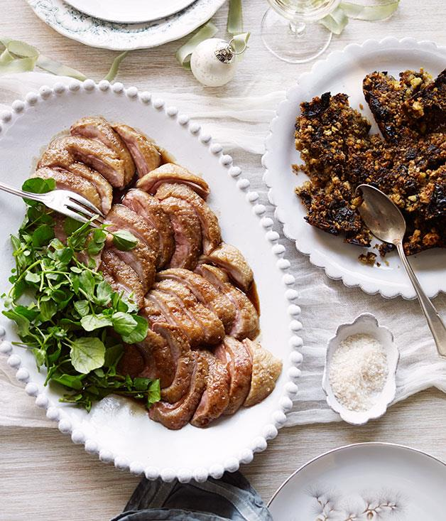 "**[Jeremy Strode's roast goose breast](http://www.gourmettraveller.com.au/recipes/chefs-recipes/roast-goose-breast-8173|target=""_blank"")** <br/> The late chef shared his favourite recipes for a Christmas lunch, English-style, back in 2014. """"I thought it might be nice to celebrate Christmas this year with one of my favourite birds - the good old goose,"" said Strode. ""I just love the extra flavour and richness you get with geese."""