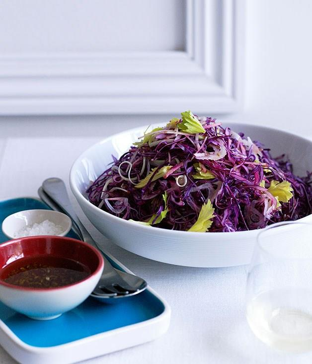 """[**Red cabbage-apple slaw with speck and caraway dressing**](https://www.gourmettraveller.com.au/recipes/browse-all/red-cabbage-apple-slaw-with-speck-and-caraway-dressing-12170
