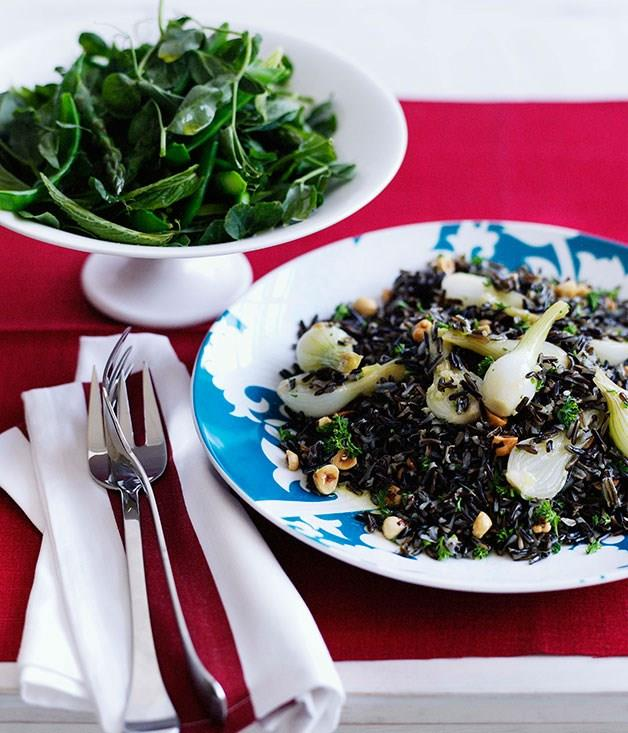 """**Wild rice with glazed onions and hazelnuts**  [**Wild rice with glazed onions and hazelnuts**](https://www.gourmettraveller.com.au/recipes/browse-all/wild-rice-with-glazed-onions-and-hazelnuts-10261