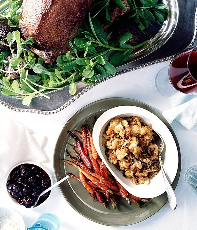 **Roast goose with pickled cherries** Roast goose with pickled cherries    [View Recipe](http://gourmettraveller.com.au/roast_goose_with_pickled_cherries.htm)     Bread stuffing    [View Recipe](http://gourmettraveller.com.au/bread_stuffing.htm)     Glazed Dutch carrots    [View Recipe](http://gourmettraveller.com.au/glazed_dutch_carrots.htm)