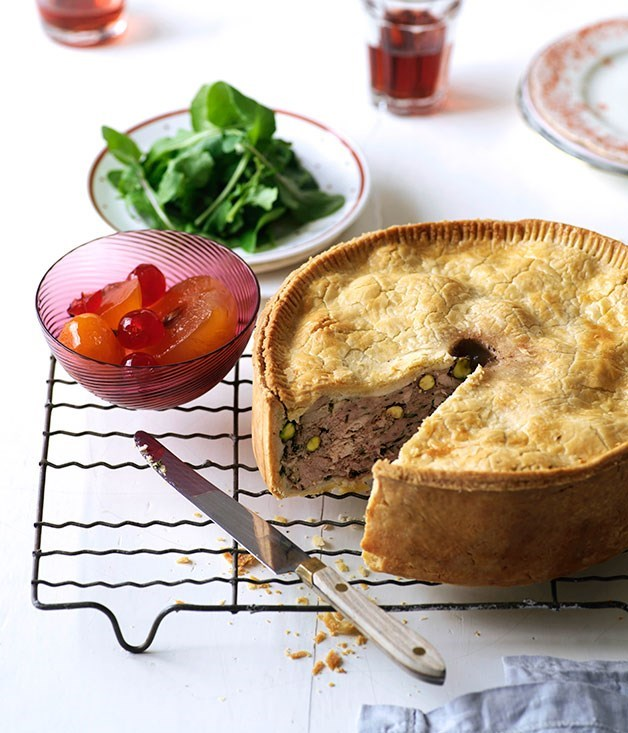 "[**Pork and turkey luncheon pie**](https://www.gourmettraveller.com.au/recipes/browse-all/pork-and-turkey-luncheon-pie-10286|target=""_blank"") <br><br>"