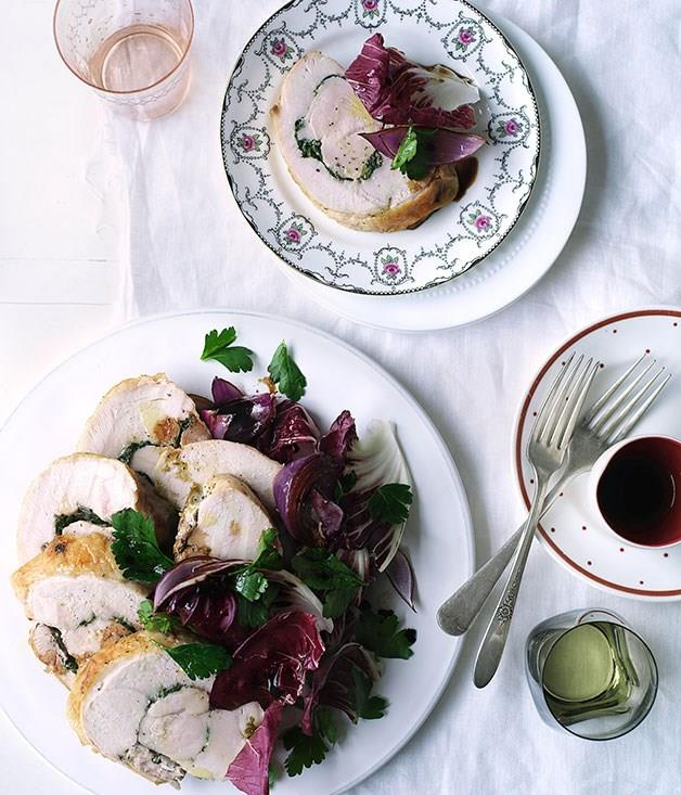 """[**Pecorino-and-parsley turkey rotolo**](https://www.gourmettraveller.com.au/recipes/browse-all/pecorino-and-parsley-turkey-rotolo-10284