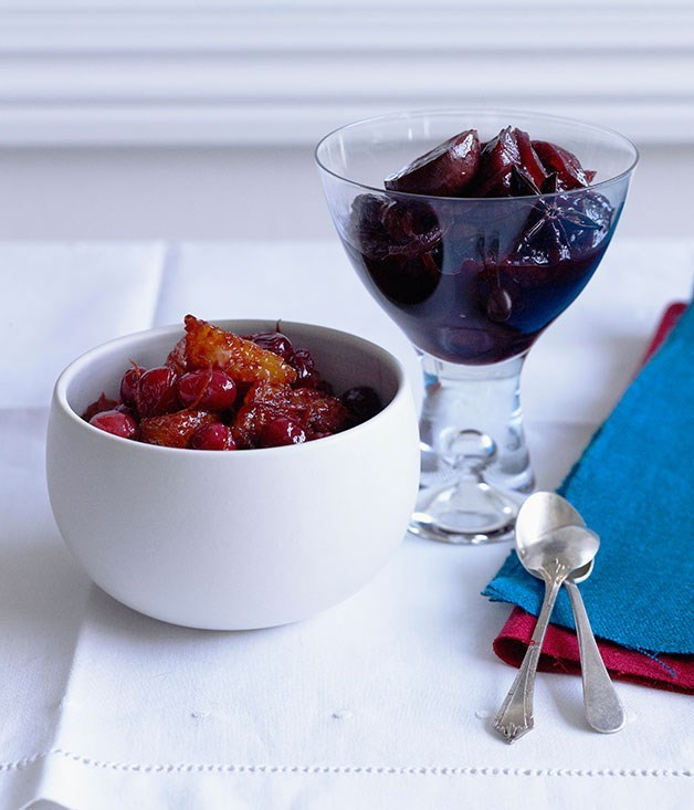 "**Christmas sauces**  [**Cranberry and orange sauce**](https://www.gourmettraveller.com.au/recipes/browse-all/cranberry-and-orange-sauce-10263|target=""_blank"") <br><br> A contemporary version of Cumberland sauce, this is perfect with ham, turkey, pork or game.  [**Blood plum, star anise and nebbiolo relish**](https://www.gourmettraveller.com.au/recipes/browse-all/blood-plum-star-anise-and-nebbiolo-relish-10264