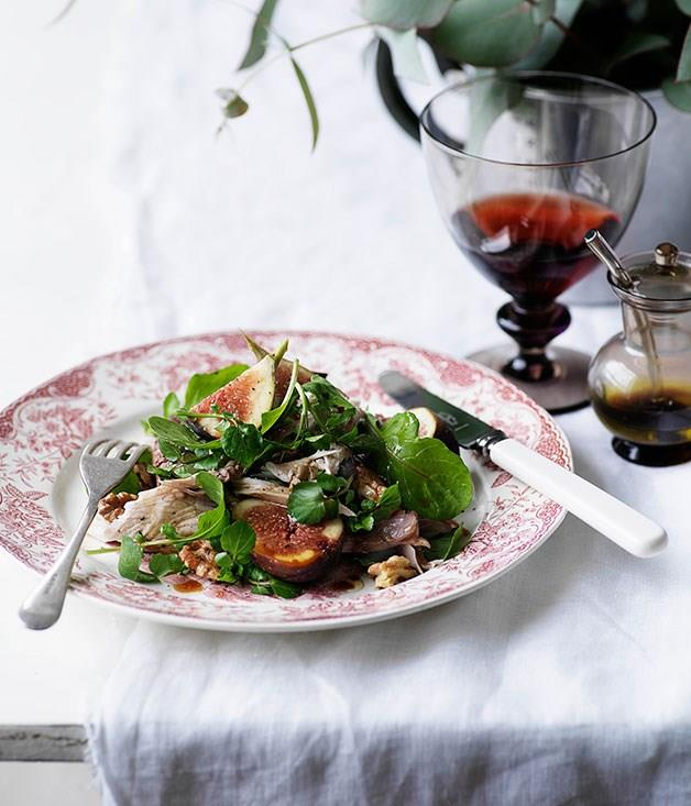 """[**Turkey, fig and duck liver salad**](https://www.gourmettraveller.com.au/recipes/browse-all/turkey-fig-and-duck-liver-salad-10288