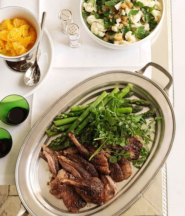 **Roast duck** Cauliflower and persillade    [View Recipe](http://gourmettraveller.com.au/cauliflower_and_persillade.htm)     Spiced roast duck with asparagus and watercress    [View Recipe](http://gourmettraveller.com.au/spiced_roast_duck_with_asparagus_and_watercress.htm)