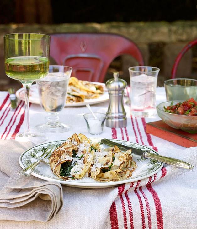 """[**Ricotta and spinach crespelle**](https://www.gourmettraveller.com.au/recipes/browse-all/ricotta-and-spinach-crespelle-10028