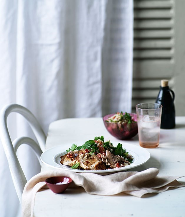 **Pomegranate-roasted turkey with cracked-wheat salad**
