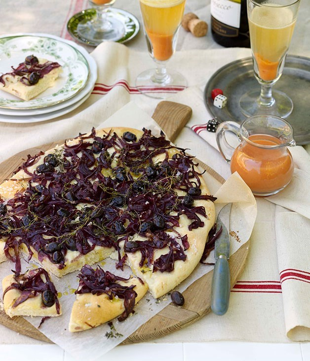 **Red onion and olive focaccia** Red onion and olive focaccia    [View Recipe](http://gourmettraveller.com.au/red_onion_and_olive_focaccia.htm)     Bellini    [View Recipe](http://gourmettraveller.com.au/bellini.htm)