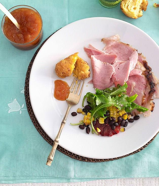 """[**Jerked ham with mango chutney**](https://www.gourmettraveller.com.au/recipes/browse-all/jerked-ham-10277