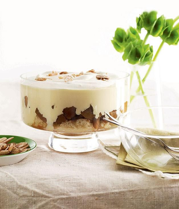 """[**Apple and Calvados trifle**](https://www.gourmettraveller.com.au/recipes/browse-all/apple-and-calvados-trifle-9773