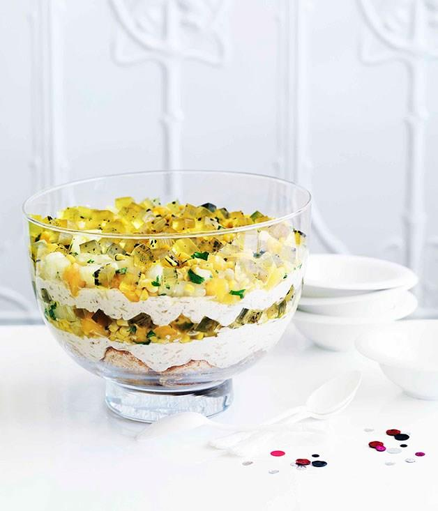 """[**Rice pudding trifle with saffron jelly and mango and mint salsa**](https://www.gourmettraveller.com.au/recipes/chefs-recipes/adriano-zumbo-rice-pudding-trifle-with-saffron-jelly-and-mango-and-mint-salsa-7356