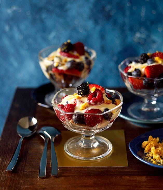 "[**Summer fruit trifle**](https://www.gourmettraveller.com.au/recipes/chefs-recipes/summer-fruit-trifle-9007|target=""_blank"")"