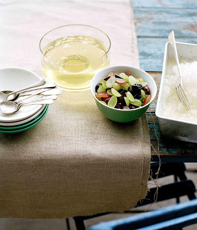 **Moscato jelly and granita with grape salad**