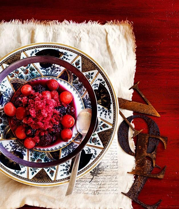 **Watermelon and boysenberry granita with melon and sparkling shiraz**