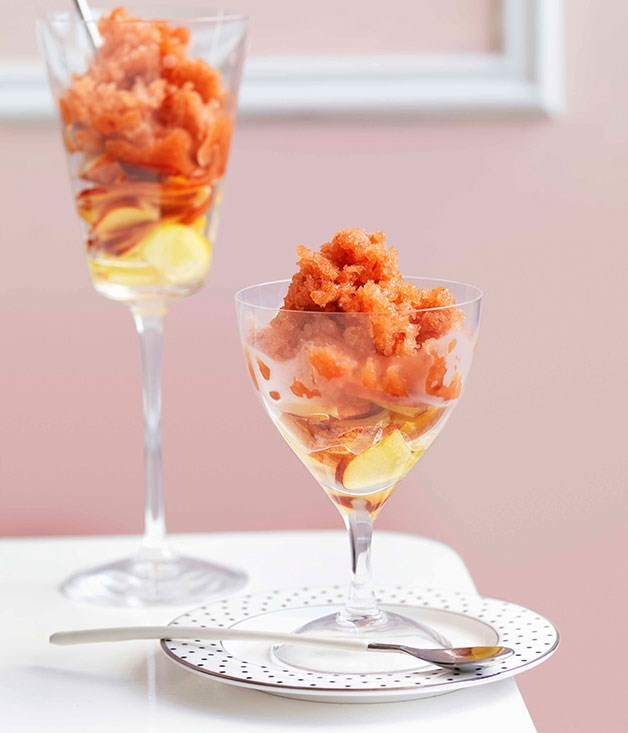**Nectarine and elderflower granita**
