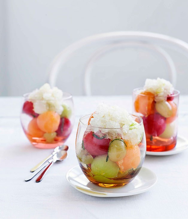 **Champagne granita and melon**
