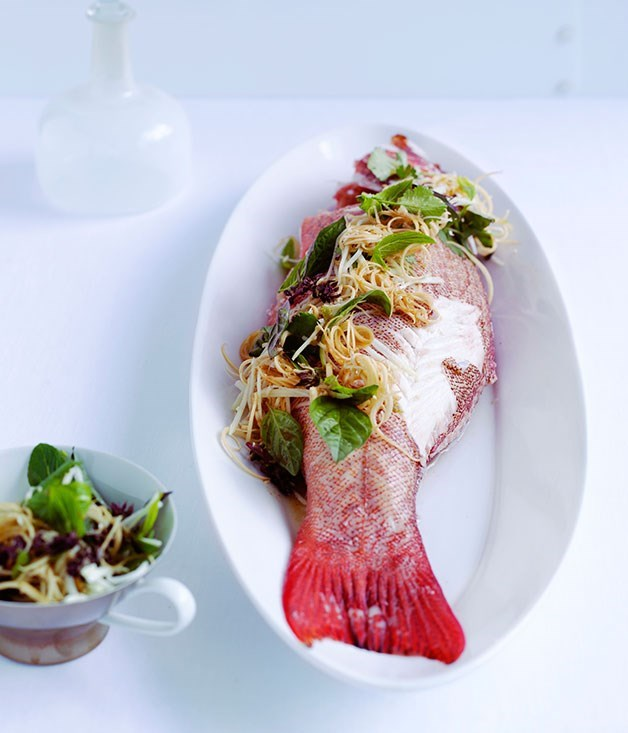 **Poached coral trout with hot and sour salad**