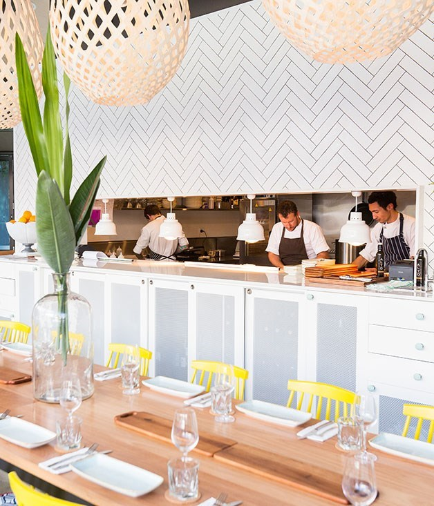**The Palms** [The Palms](http://www.gourmettraveller.com.au/restaurants/restaurant-news-features/2014/10/hot-plates-30-october-2014/) has a breezy holiday atmosphere at play. Beach house-style interiors are casually chic, with pops of acid yellow and blue bold enough to match the Med-influenced flavours on offer.