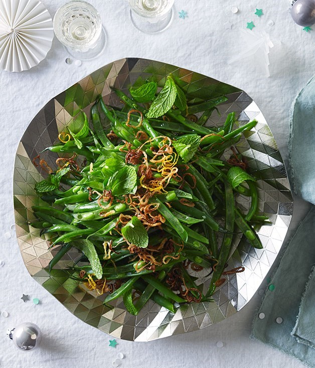 **Green bean salad with mint, fried shallot and lemon**