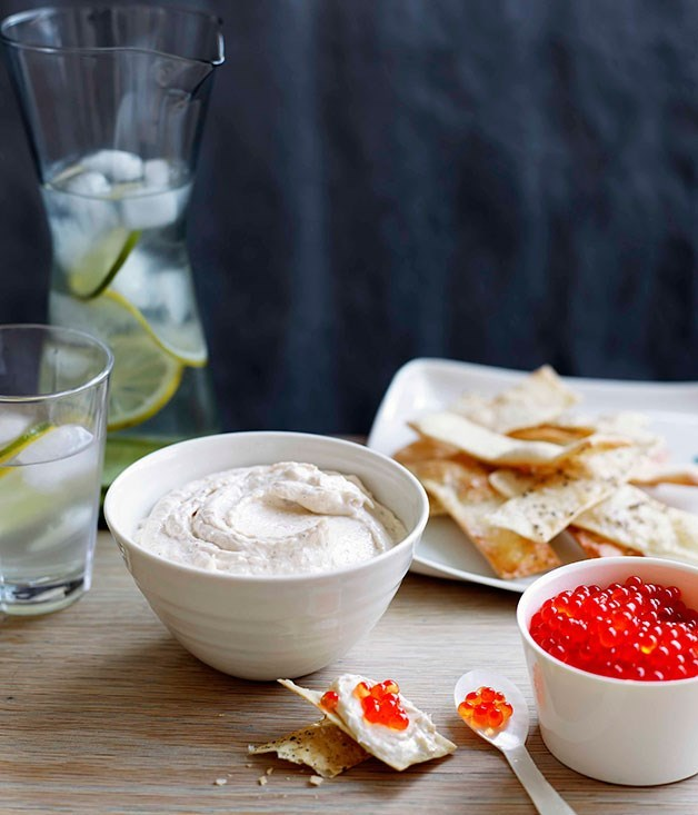 **Real-deal taramasalata with salmon roe and black pepper water crackers**