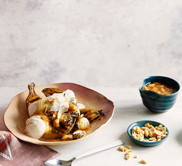 Char-grilled banana splits with salted peanut caramel