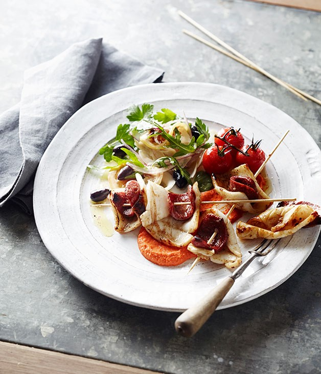 Barbecued squid with romesco sauce