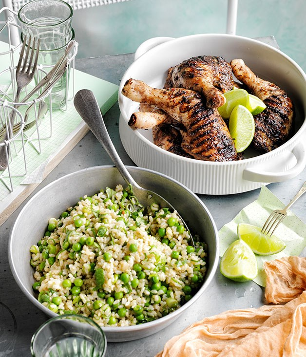 **Jerk chicken legs with rice and peas**