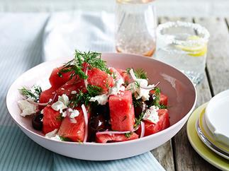 Watermelon, olive and feta salad