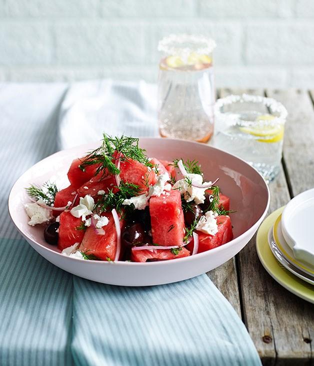 "[**Watermelon, olive and feta salad**](http://www.gourmettraveller.com.au/recipes/fast-recipes/watermelon-olive-and-feta-salad-13559|target=""_blank"")"